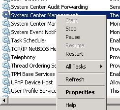 Services - Right click menu