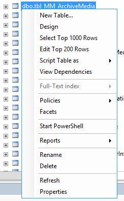 SQL Right Click Table
