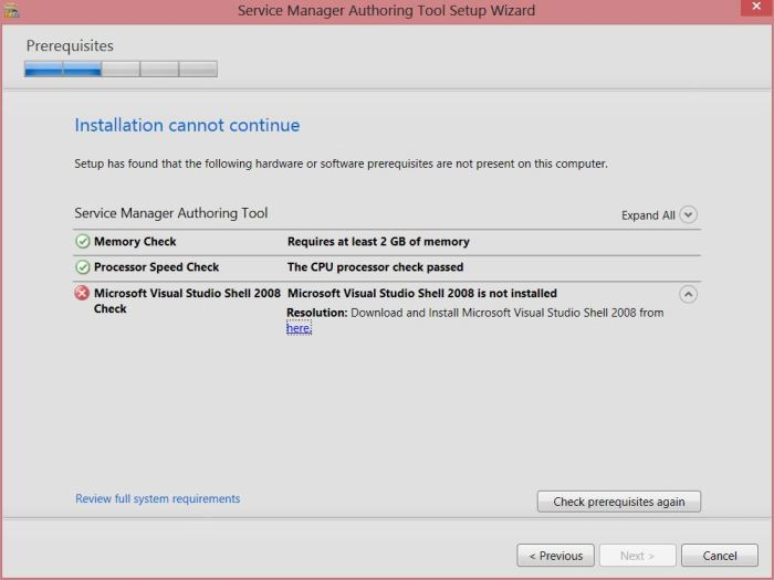 Server Manager 2012 R2 Authoring Tools Prerequisites check fails